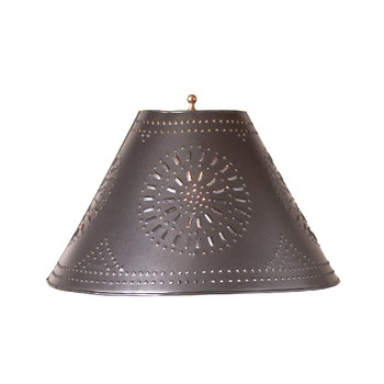 """Smokey Black 15"""" Flared Punched Chisel Pierced Tin Lamp Shade"""