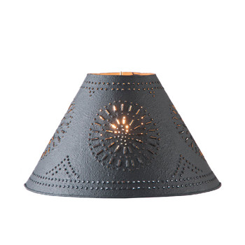 """Textured Black 15"""" Flared Punched Chisel Pierced Tin Lamp Shade"""