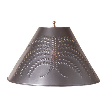 "Smokey Black 15"" Punched Chisel Pierced Tin Willow Tree Lamp Shade"