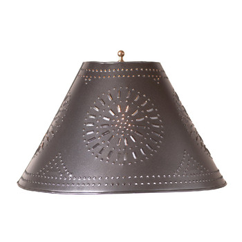 """Smokey Black 17"""" Flared Punched Chisel Pierced Tin Lamp Shade"""