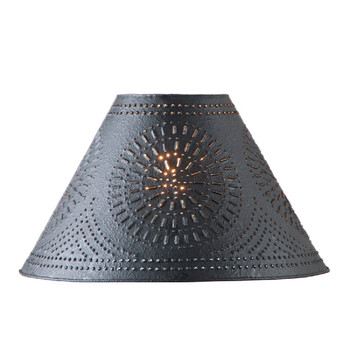 """Textured Black 17"""" Flared Punched Chisel Pierced Tin Lamp Shade"""