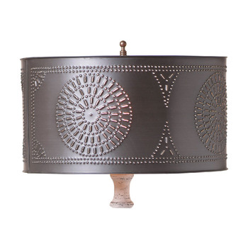 Kettle Black Punched Chisel Pierced Tin Table Lamp Drum Shade