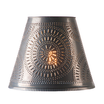 """Blackened Tin 14"""" Fireside Punched Chisel Pierced Tin Lamp Shade"""