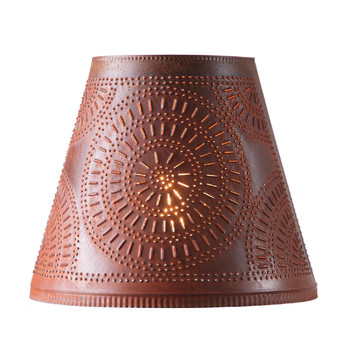 """Rustic Tin 14"""" Fireside Punched Chisel Pierced Tin Willow Tree Lamp Shade"""