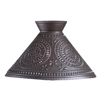 Kettle Black Betsy Ross Punched Chisel Pierced Tin Lamp Shade