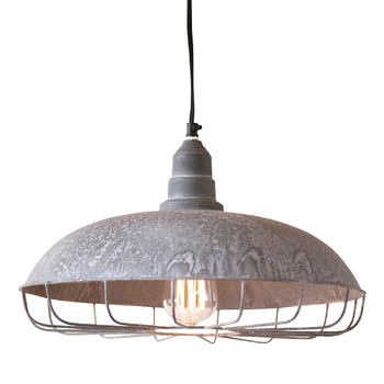 Weathered Zinc Supply Store Metal Pendant Light