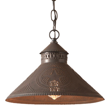 Blackened Tin Stockbridge Shade Punched Chisel Pierced Tin Star Pendant Light
