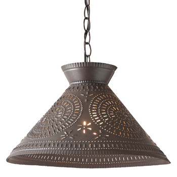 Kettle Black Roosevelt Shade Punched Chisel Pierced Tin Pendant Light