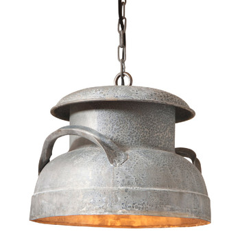 Weathered Zinc Milk Can Metal Pendant Light