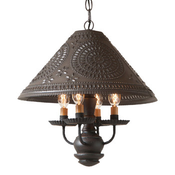 Americana Black Homespun Shade Punched Chisel Pierced Tin Pendant Light