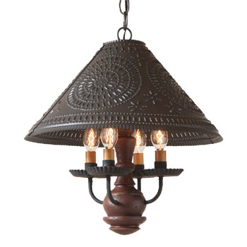 Americana Plantation Red Homespun Shade Punched Chisel Pierced Tin Pendant Light