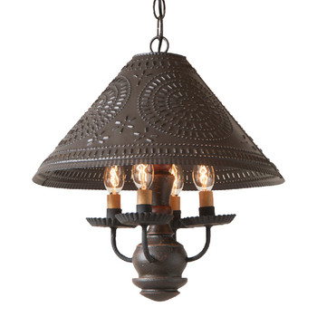 Americana Espresso Homespun Shade Punched Chisel Pierced Tin Pendant Light