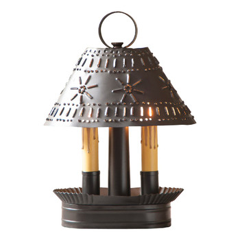 Smokey Black Grandma's Lamp with Punched Chisel Pierced Tin Shade