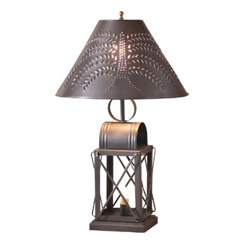 Smokey Black Keeping Room Metal and Wood Table Lamp with Willow Tree Punched Chisel Pierced Tin Shade