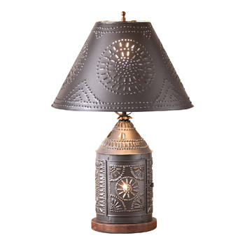 Smokey Black Tinner's Revere Metal Table Lamp with Punched Chisel Pierced Tin Shade