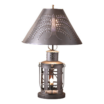 Smokey Black Innkeeper's Metal Table Lamp with Punched Chisel Pierced Tin Shade