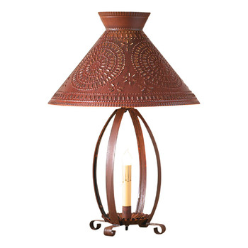 Rustic Tin Betsy Ross Lamp with Punched Chisel Pierced Tin Shade