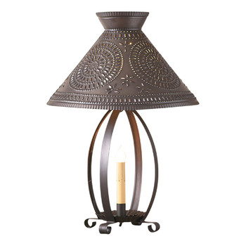 Kettle Black Betsy Ross Metal Table Lamp with Punched Chisel Pierced Tin Shade