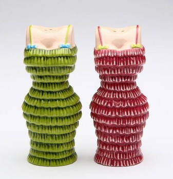 Pink and Green Dress Ceramic Salt and Pepper Shakers by Babs, Set of 4