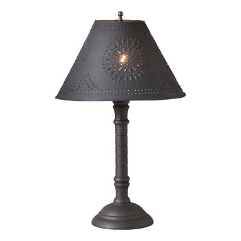 Hartford Black over Red Gatlin Wood Table Lamp with Punched Chisel Pierced Tin Shade