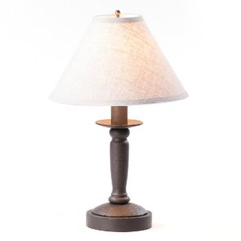 Americana Black Butcher Wood Table Lamp with Linen Shade