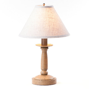 Americana Pearwood Butcher Wood Table Lamp with Linen Shade