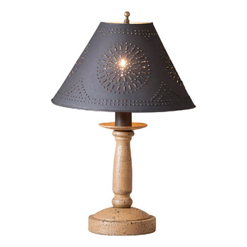 Americana Pearwood Butcher's Wood Table Lamp with Punched Chisel Pierced Tin Shade