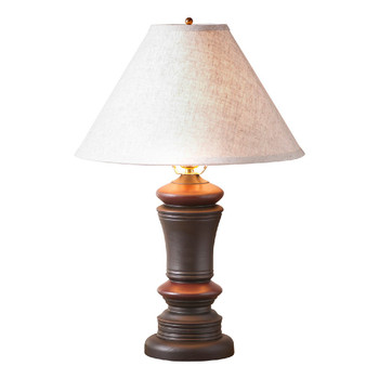Sturbridge Black with Red Stripe Peppermill Wood Table Lamp with Shade