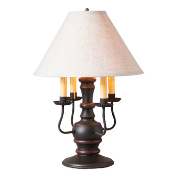Sturbridge Black with Red Stripe Cedar Creek Wood and Metal Table Lamp with Shade
