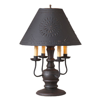 Americana Black Cedar Creek Wood and Metal Table Lamp with Punched Chisel Pierced Tin Shade