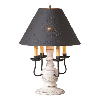 Americana White Cedar Creek Wood and Metal Table Lamp with Punched Chisel Pierced Tin Shade