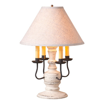 Americana White Cedar Creek Wood and Metal Table Lamp with Fabric Shade
