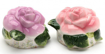 Pink and Purple Rose Ceramic Salt and Pepper Shakers, Set of 4