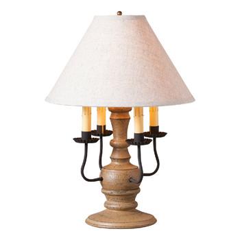 Americana Pearwood Cedar Creek Wood and Metal Table Lamp with Fabric Shade
