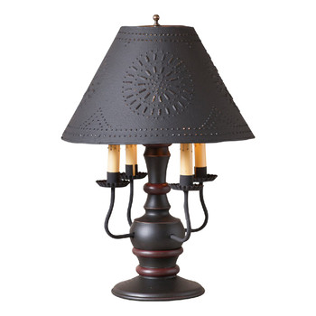 Sturbridge Black with Red Stripe Cedar Creek Wood and Metal Table Lamp with Punched Chisel Pierced Tin Shade
