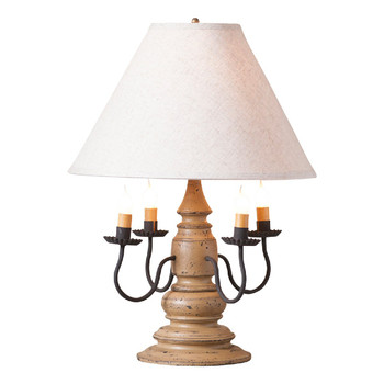Americana Pearwood Wood and Metal Table Lamp with Linen Shade