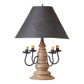 Americana Pearwood Harrison Wood and Metal Table Lamp with Punched Chisel Pierced Tin Shade
