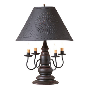 Americana Black Harrison Wood and Metal Table Lamp with Punched Chisel Pierced Tin Shade