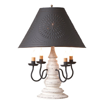 Americana White Harrison Wood and Metal Table Lamp with Punched Chisel Pierced Tin Shade