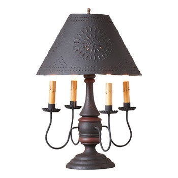 Hartford Black over Red with Red Stripe Jamestown Wood and Metal Table Lamp with Punched Chisel Pierced Tin Shade
