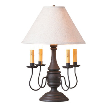 Hartford Black over Red Jamestown Wood and Metal Table Lamp with Shade