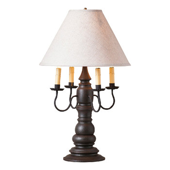 Americana Black Bradford Wood and Metal Table Lamp with Linen Shade