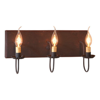 Hartford Black with Red Stripe Three Light Wood and Metal Vanity Light