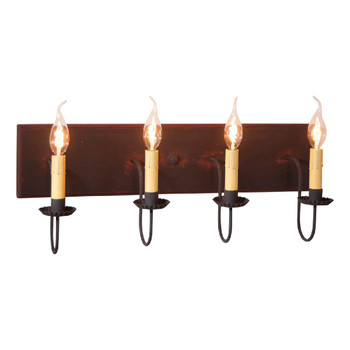 Hartford Black with Red Stripe Four Light Wood and Metal Vanity Light