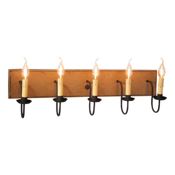 Pearwood Five Light Wood and Metal Vanity Light