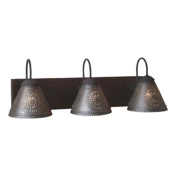 Black Crestwood Three Light Wood and Metal Vanity Light