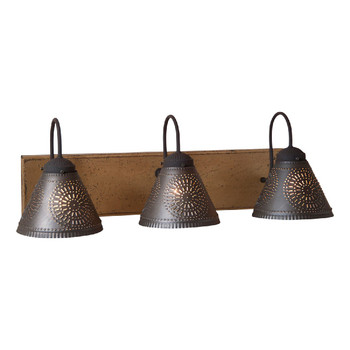 Pearwood Crestwood Three Light Wood and Metal Vanity Light