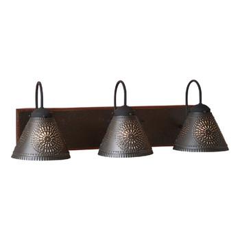 Espresso with Salem Brick Three Light Wood and Metal Vanity Light