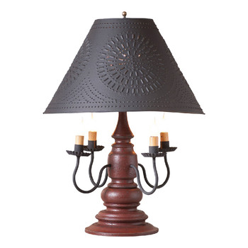 Americana Plantation Red Harrison Wood and Metal Table Lamp with Punched Chisel Pierced Tin Shade