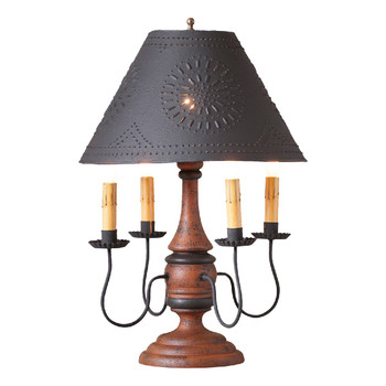 Hartford Pumpkin over Black Jamestown Wood and Metal Table Lamp with Punched Chisel Pierced Tin Shade